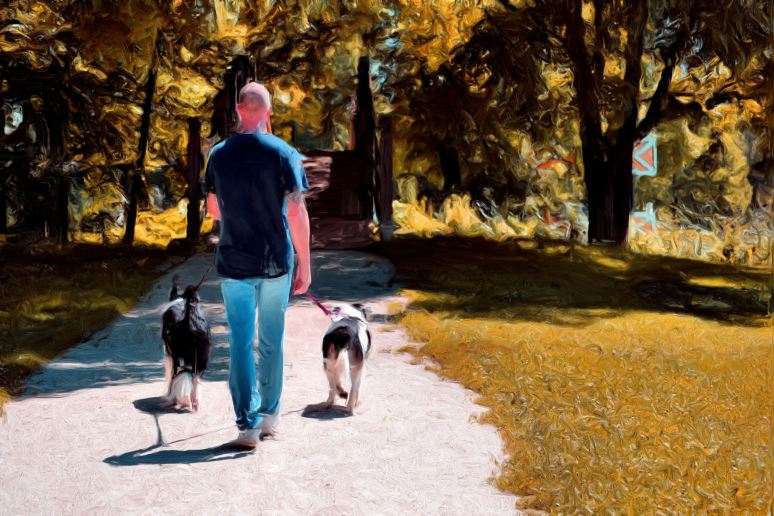 A Man and His Dogs Oil Painting