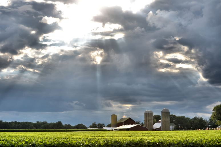 Sun's Rays Over the Farm