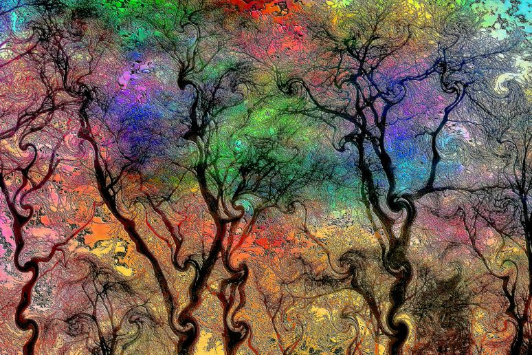 Psychedelic Winter Tree Art